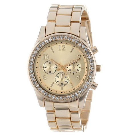 Superior New Faux Chronograph Quartz Plated Classic Round Ladies Women Crystals Wrist Watch
