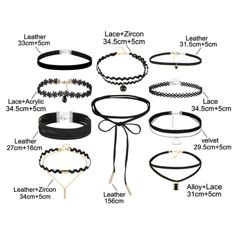 10 Piece Choker necklace set