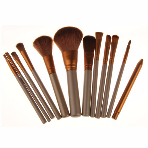 New Professional makeup brushes 12pcs make up brush sets eye shadow Foundation Iron box Cosmetic Brush kits makeup tool