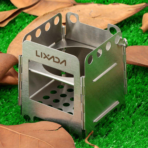 Outdoor Portable Wood Stove Backpacking Survival Wood Burning Camping Stove Stainless Steel Lightweight Folding Pocket Stoves