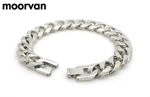 Mens stainless steel bracelets 9mm, 10mm and 13mm Silver or Gold