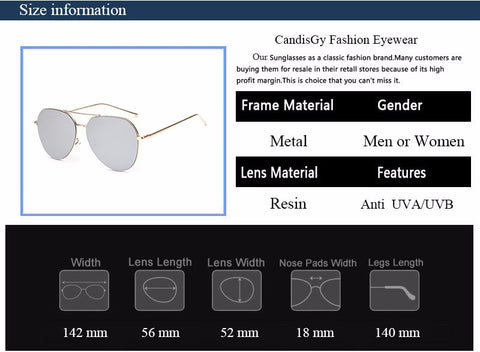 Flat Lens Mirror Aviation Sunglasses