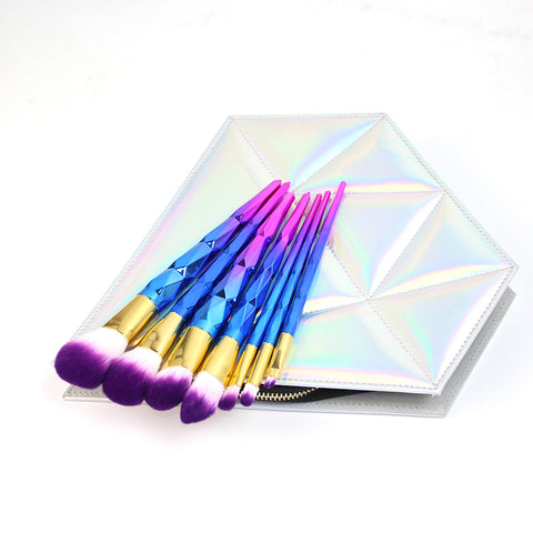 7pcs Purple Blue Diamond Handle Makeup Brush set