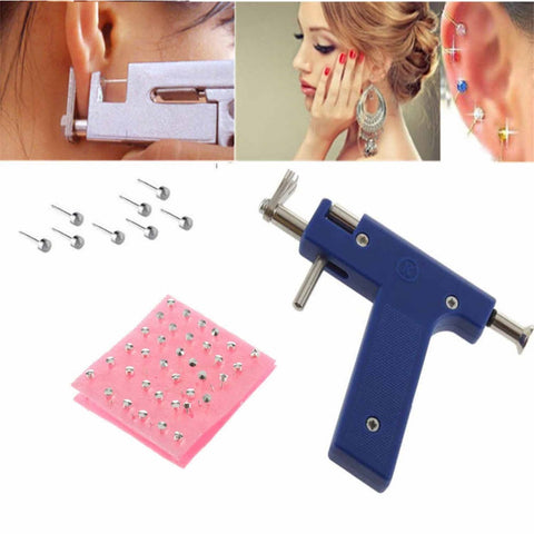 Professional Iron Ear Piercing Gun Ear Nose Navel Body Piercing Gun 72pcs Studs Tool Kit Set