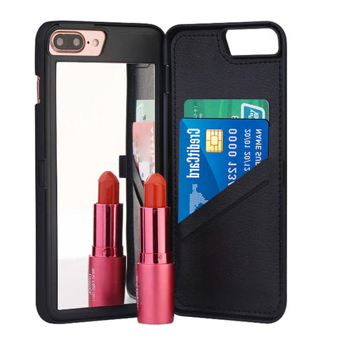 Flip Mirror Hard Cases Wallet Card Holder Stand Cover For iPhone 7