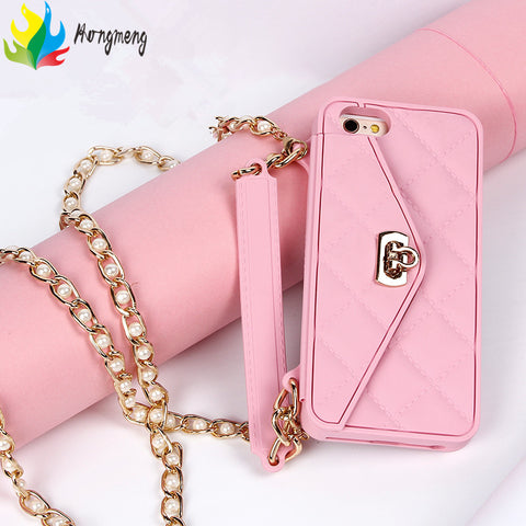 Handbag wallet card bag long pearl chain soft silicone phone case For iphone7 7plus 6 6s 8 8plus fashion cover