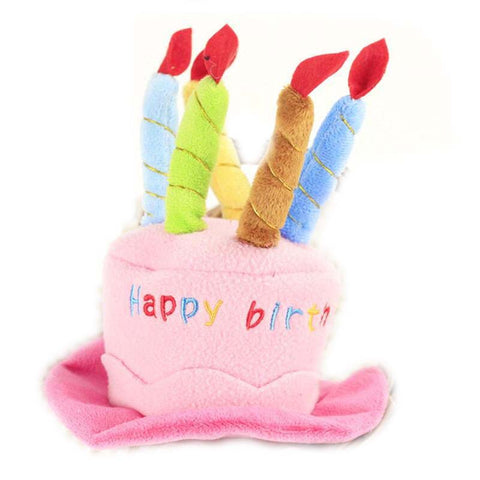 Pet Cat Birthday Hat Dog Cap with Cake & Candles Design Party Cat Costume Accessory Headwear for Dogs/Cats