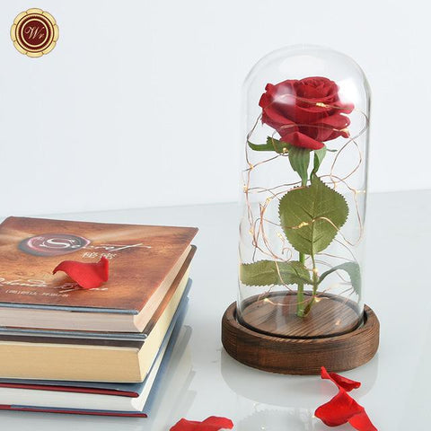 Red Silk Rose in a Glass Dome