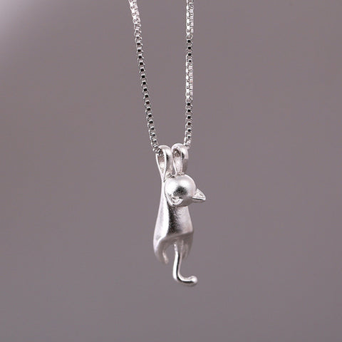 Hot Cute Women Silver Plated Necklace Tiny Cute Cat Pendant Necklace for Women Lady Girl Jewelry Best Gift