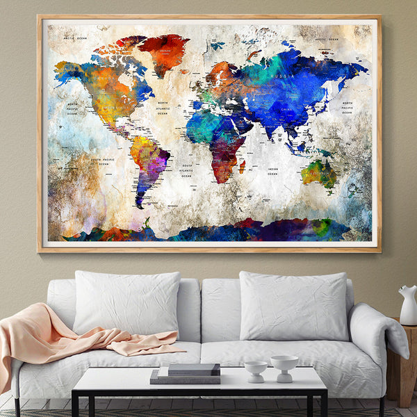 extra large wall art push pin world travel map push pin travel map wall art