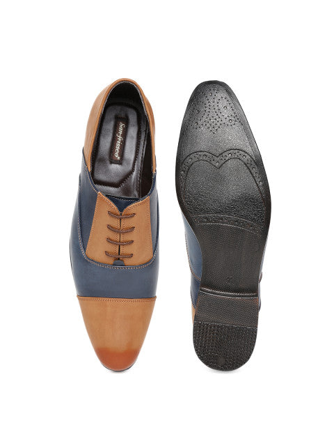 San Frissco Men's Blue Tan Formal Lace-ups