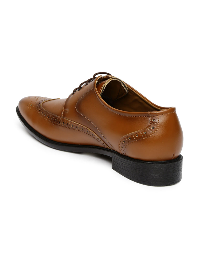 San Frissco Men Tan Brown Formal Brogues