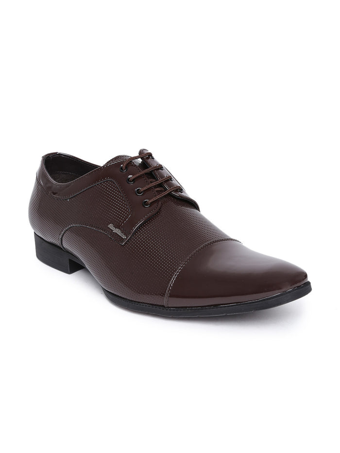 San Frissco Men Brown Glossy Semiformal Shoes