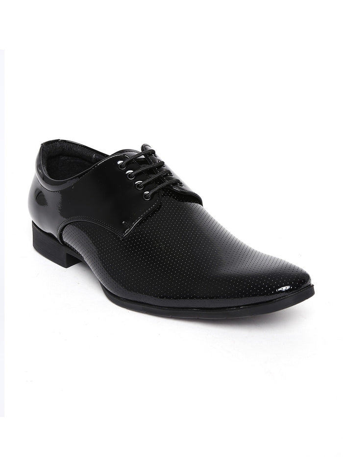 San Frissco Men Black Perforated Semiformal Shoes