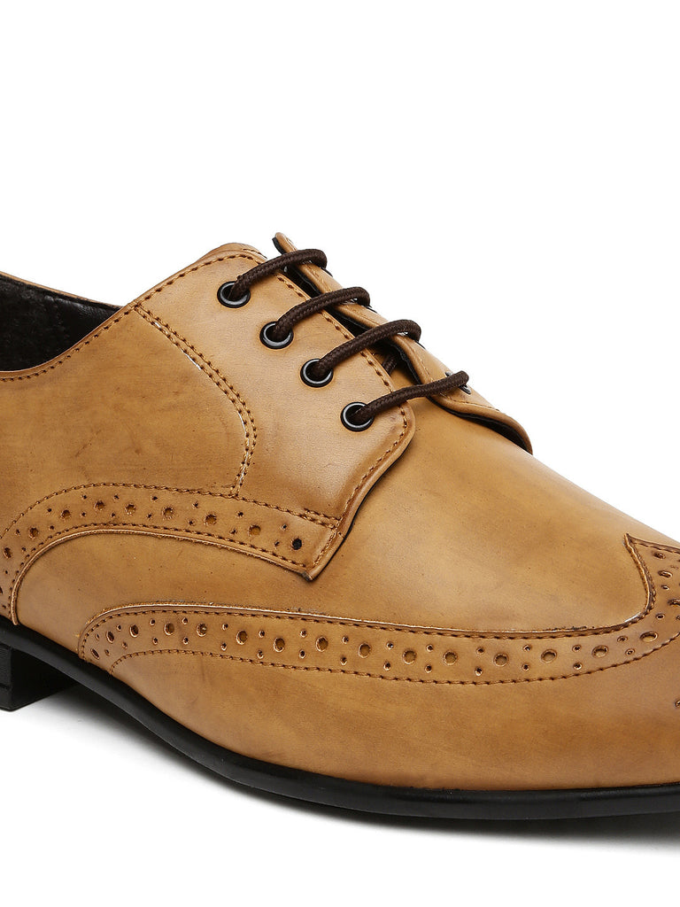 San Frissco Men Tan Brown Brogue Formal Shoes