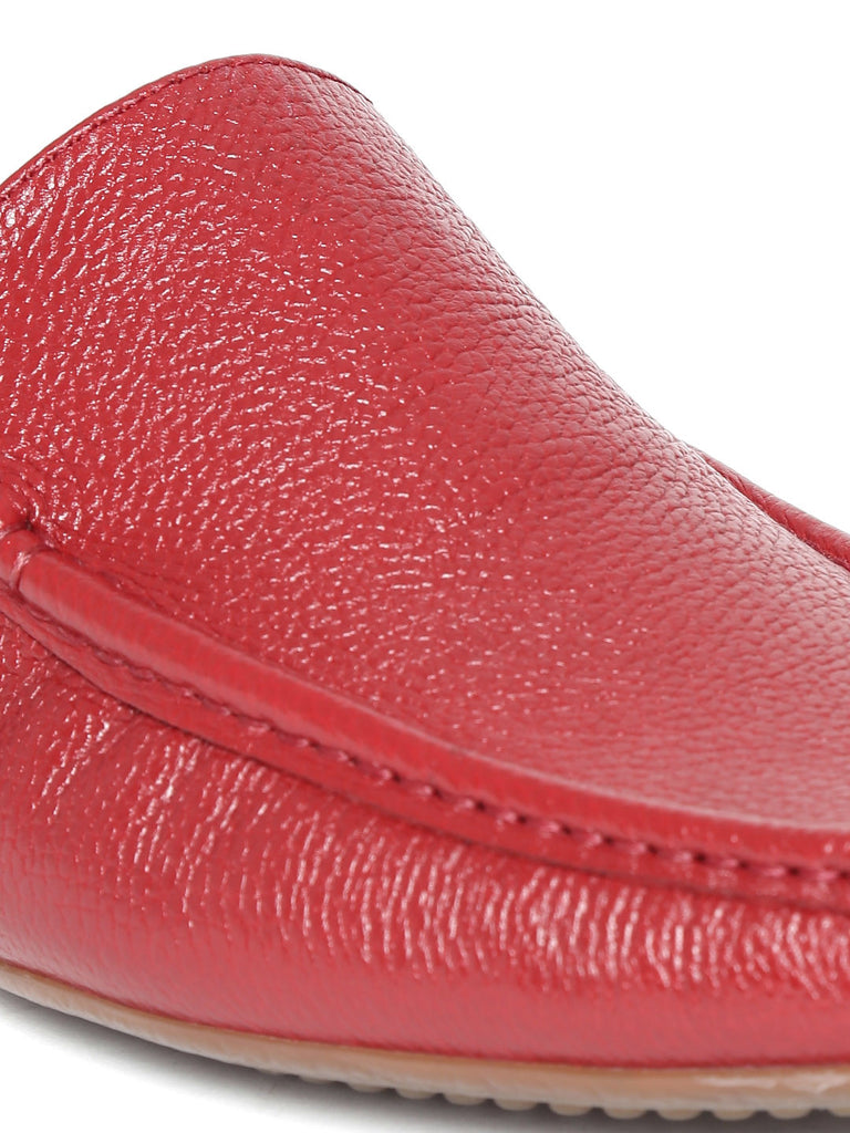 San Frissco Men Red Textured Leather Loafers