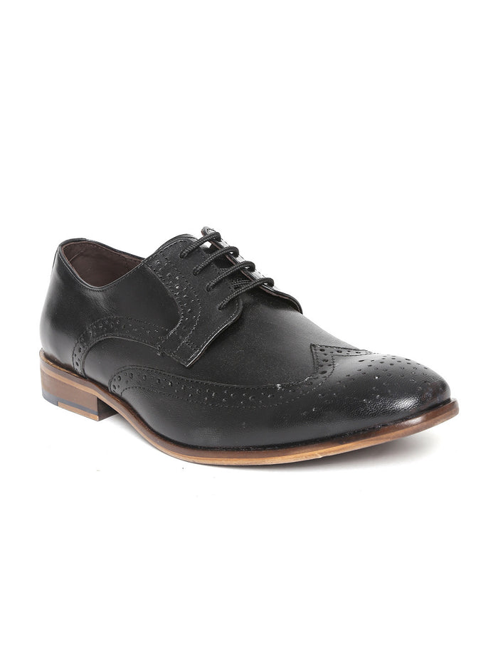 San Frissco Men Black Leather Brogues