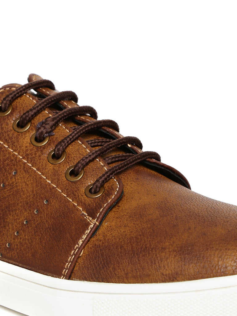 San Frissco Men Tan Textured Sneakers