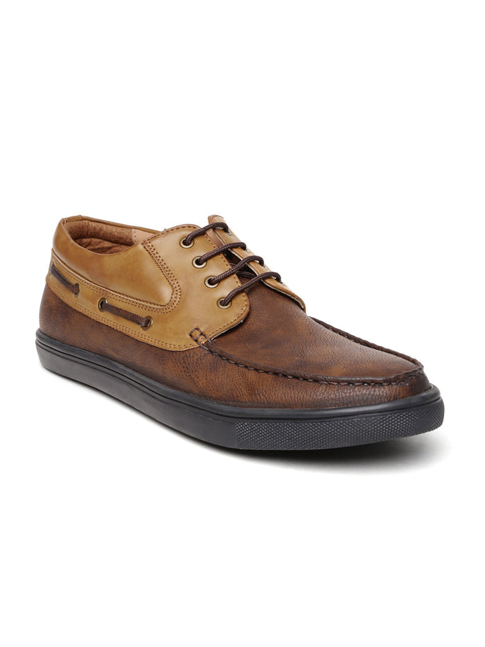 San Frissco Men Brown Colourblocked Derby Casual Shoes