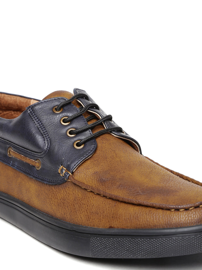 San Frissco Men Brown & Black Colourblocked Derby Casual Shoes