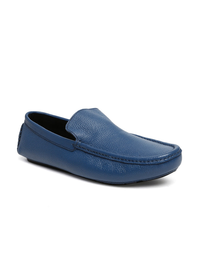 San Frissco Men Blue Leather Loafers