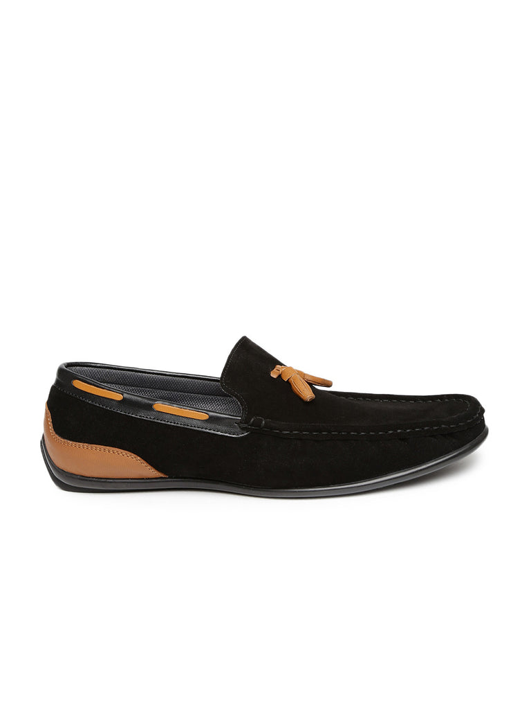 San Frissco Men Black Suede Loafers