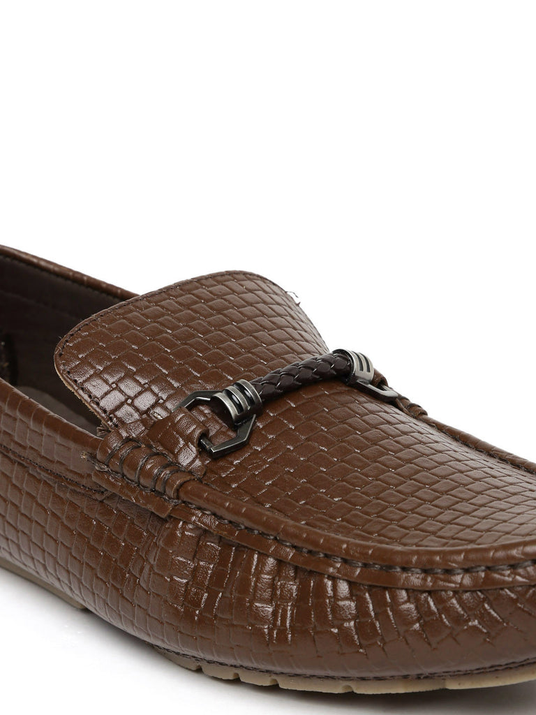 San Frissco Men Brown Textured Leather Horsebit Loafers