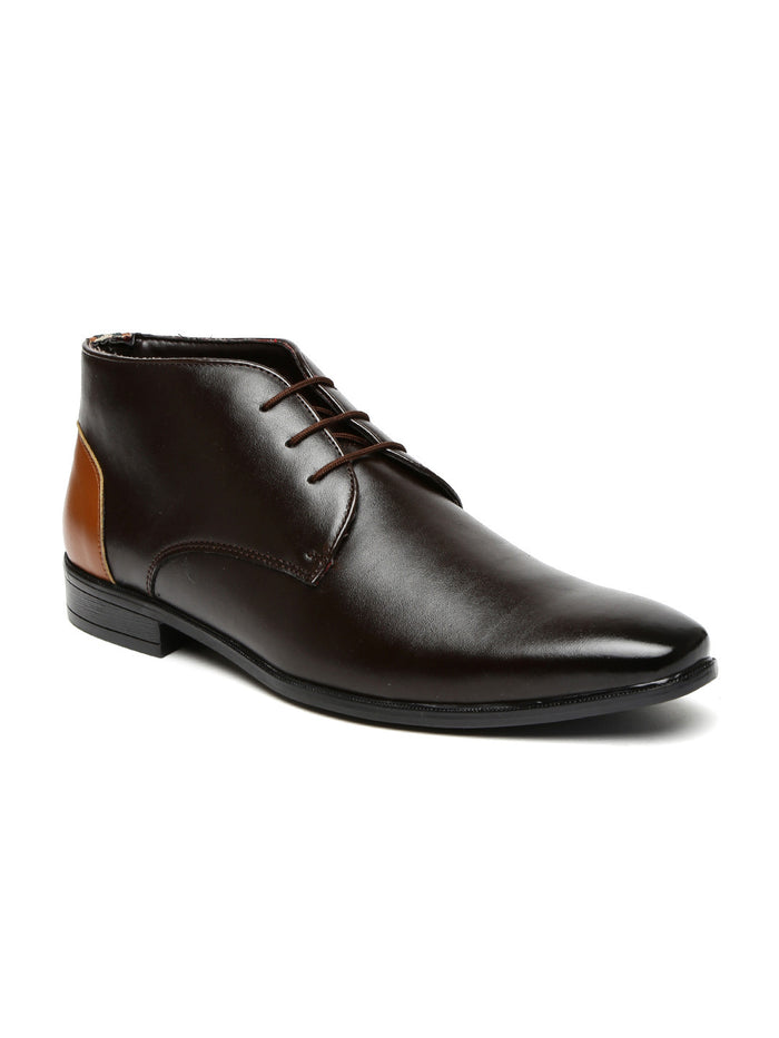 San Frissco Men Dark Brown Mid-Top Formal Derbys