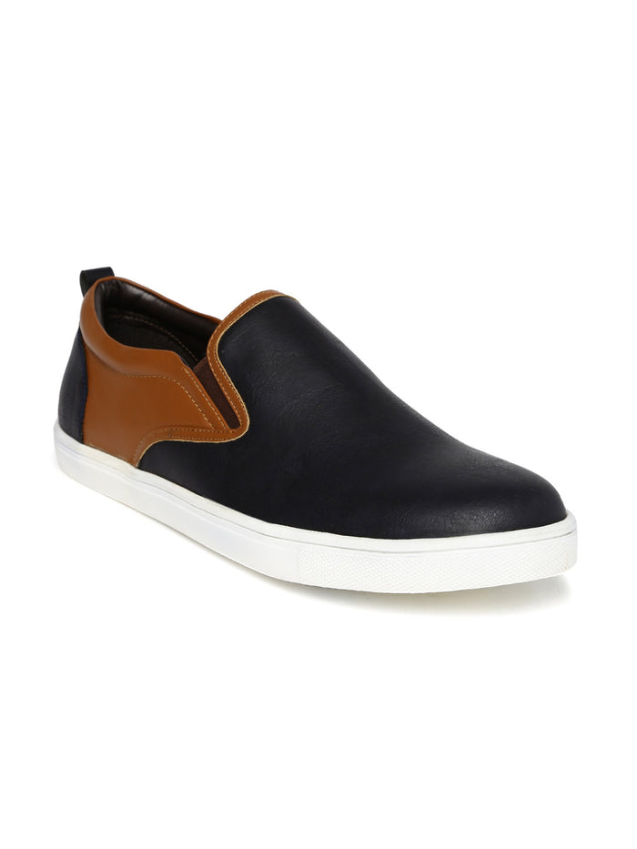 San Frissco Men Navy & Brown Colourblock Slip-On Sneakers