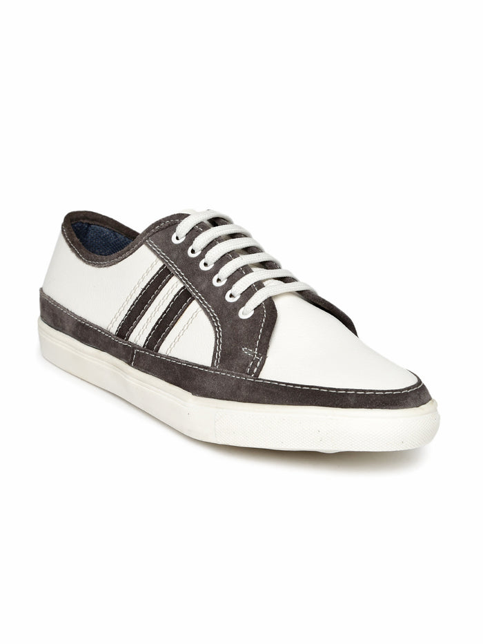 San Frissco Men White & Grey Colourblock Sneakers