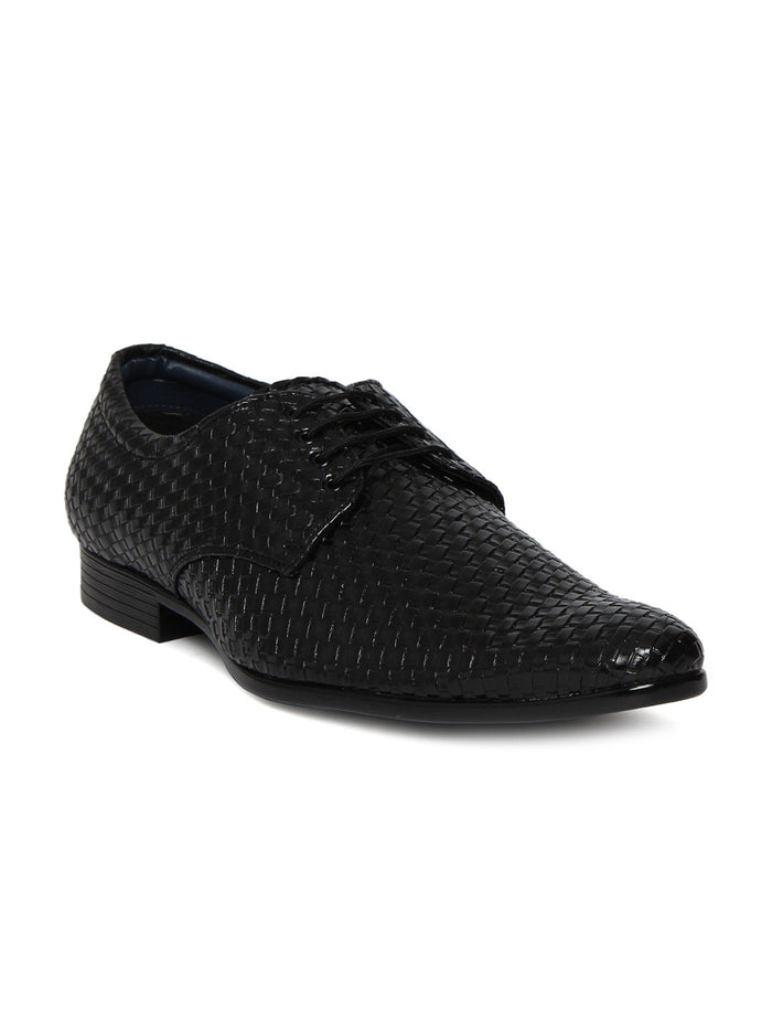 San Frissco Men Black Interwoven Leather Derbys
