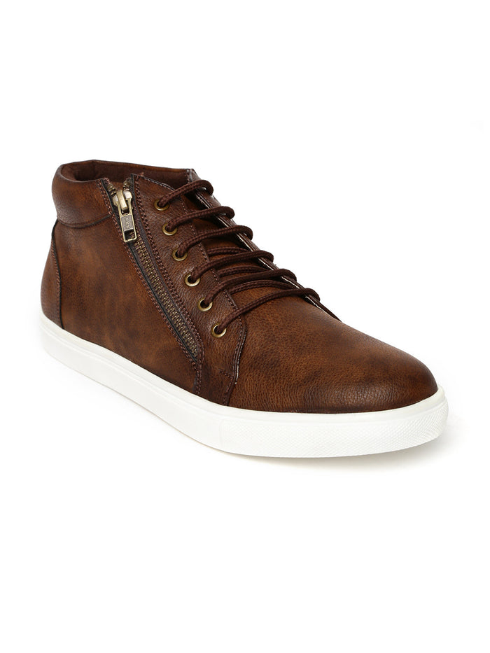 San Frissco Men Brown Solid Mid-Top Sneakers