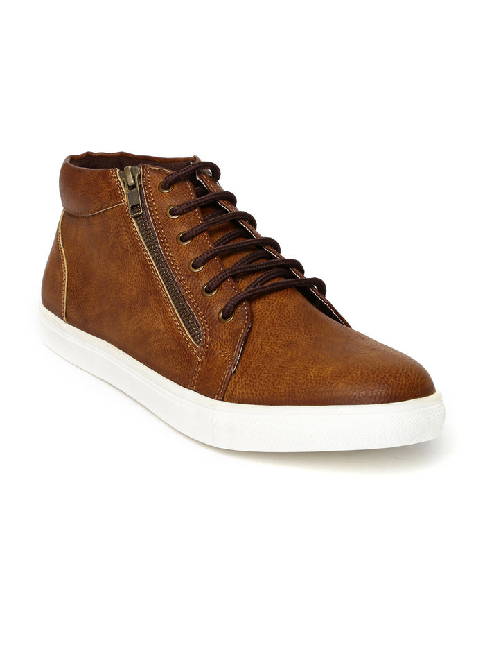 San Frissco Men Tan Brown Solid Mid-Top Sneakers