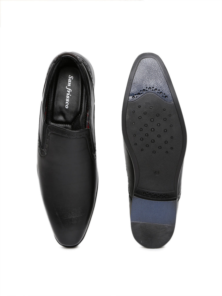 San Frissco Men Black Leather Formal Slip-On