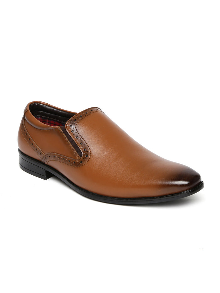 San Frissco Men Tan Brown Leather Formal Slip-Ons