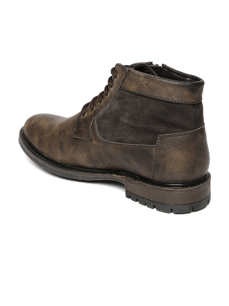 San Frissco Men Brown Solid High-Tops Flat Boots