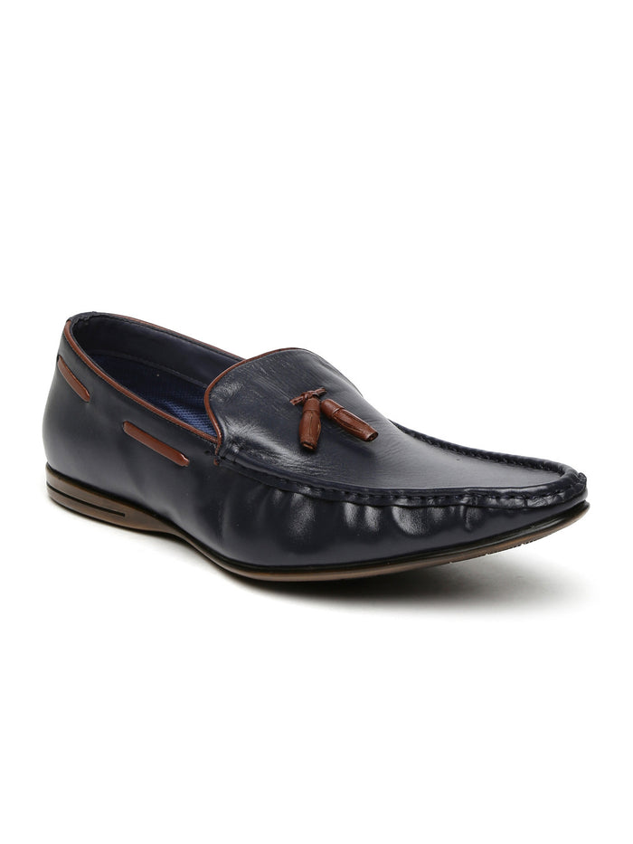San Frissco Men Navy Leather Semiformal Slip-Ons