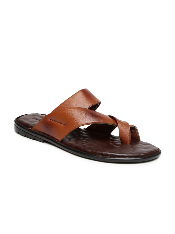 San Frissco Men Tan Brown Leather Sandals