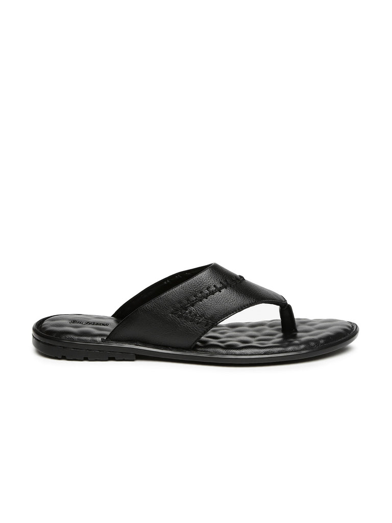 San Frissco Men Black Leather Sandals