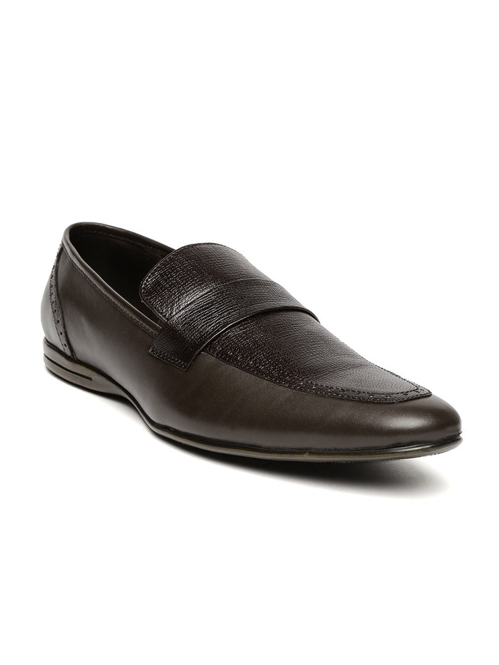 San Frissco Men Brown Textured Leather Semiformal Slip-Ons
