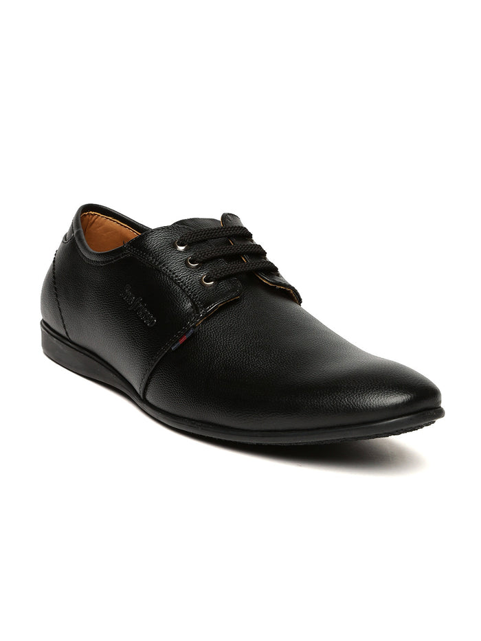 San Frissco Men Black Solid Leather Derbys