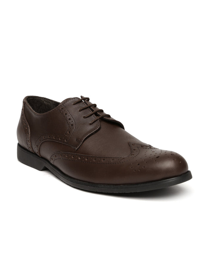 San Frissco Men Dark Brown Leather Brogues