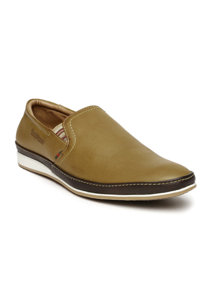 San Frissco Men Tan Brown Slip-On Sneakers
