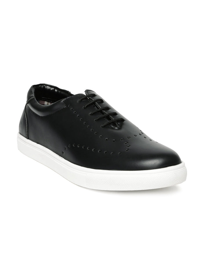 San Frissco Men Black Perforated Sneakers