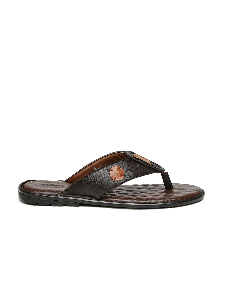 San Frissco Men Brown Leather Sandals