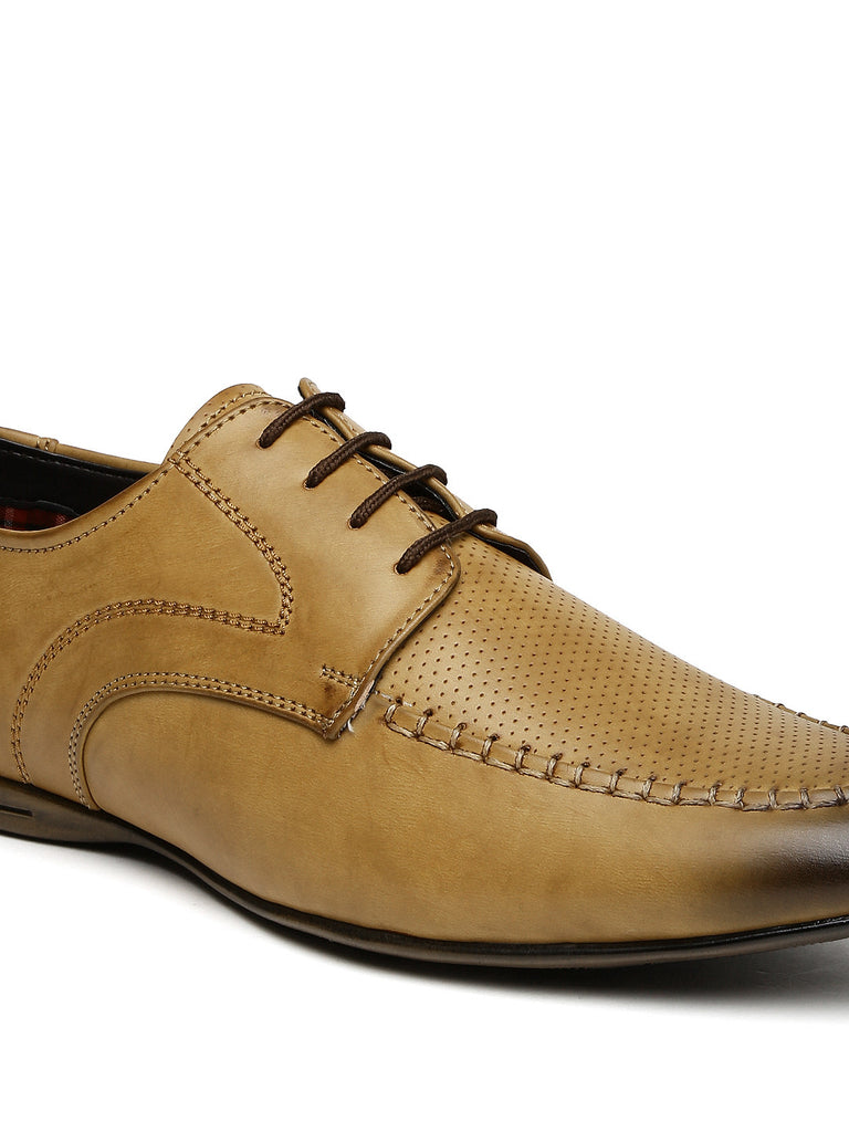 San Frissco Men Tan Brown Perforated Derby Formal Shoes
