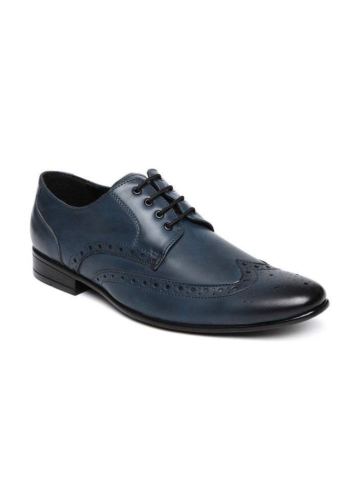 San Frissco Men Blue Perforated Brogues