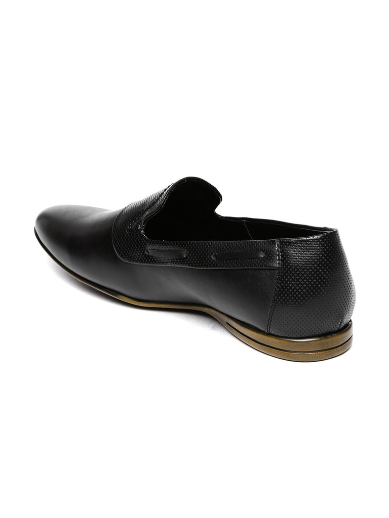 San Frissco Men Black Textured Semiformal Slip-Ons