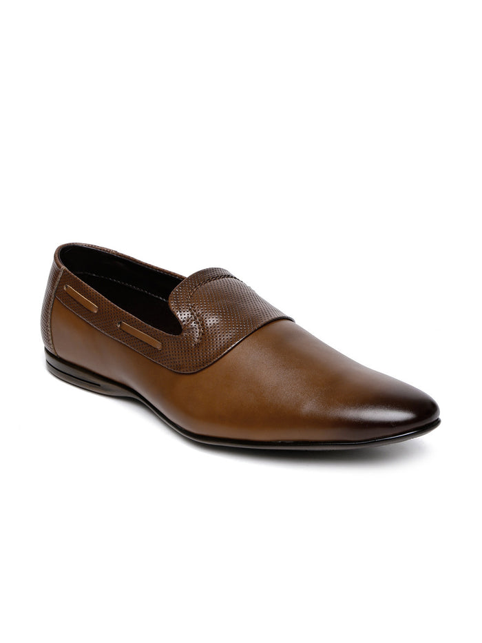 San Frissco Men Brown Textured Semiformal Slip-Ons