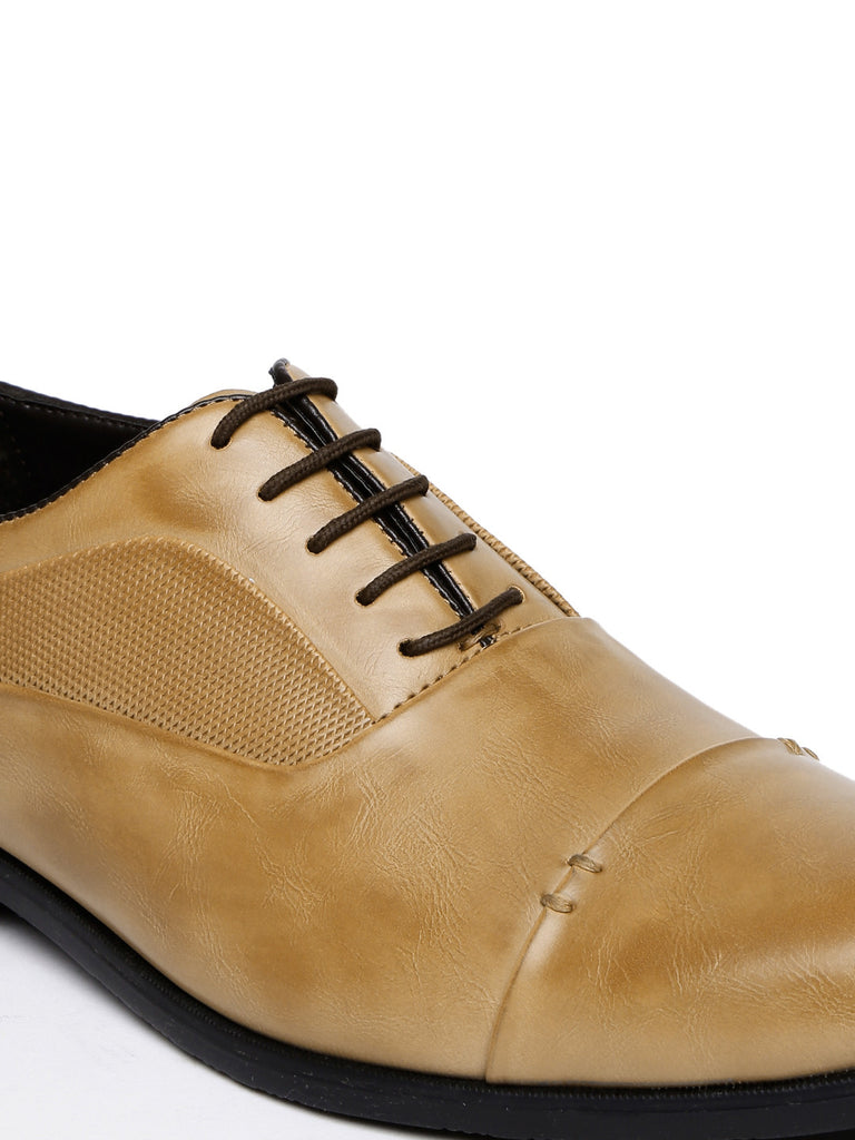 San Frissco Men Brown Textured Oxford Formal Shoes